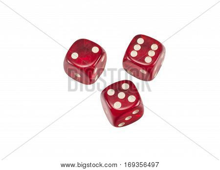 Red dice isolated on a white background