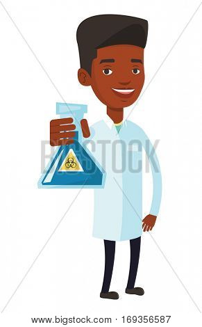 African-american scientist in medical gown. Scientist holding flask with biohazard sign. Scientist showing a flask with some liquid in it. Vector flat design illustration isolated on white background.