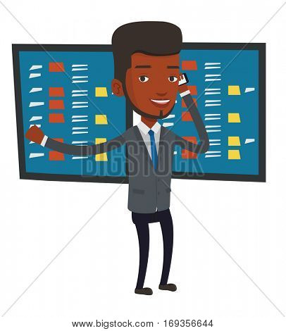An excited businessman talking on mobile phone on the background of display of stock market quotes. Happy stockbroker at stock exchange. Vector flat design illustration isolated on white background.