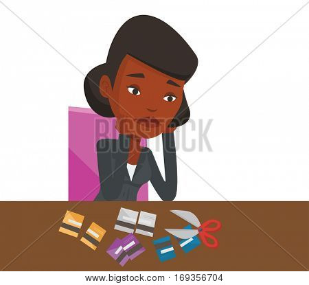 African businesswoman cutting credit card. Businesswoman sitting at the desk with cut credit card. Woman cutting credit card with scissors. Vector flat design illustration isolated on white background