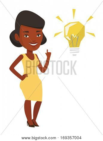 An african-american student pointing his finger up at the idea bulb. Excited student with bright idea bulb. Student having a great idea. Vector flat design illustration isolated on white background.
