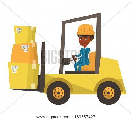 African warehouse worker loading cardboard boxes. Forklift driver at work in storehouse. Warehouse worker driving forklift at warehouse. Vector flat design illustration isolated on white background.