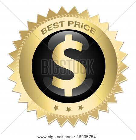 Best price seal or icon with dollar symbol. Glossy golden seal or button with stars.