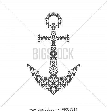 Abstract Anchor Silhouette with Pattern. Vector illustration