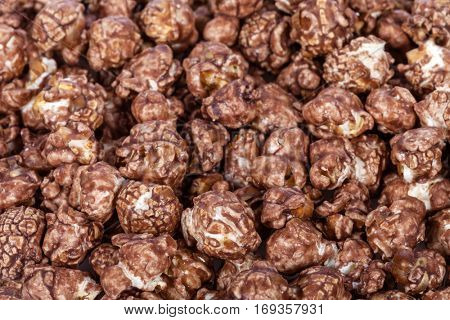 Background of Popcorns flavored with sweet chocolate and mint