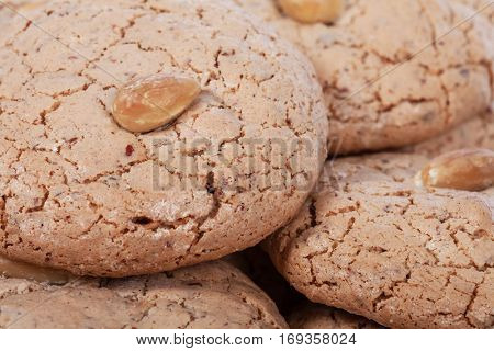 Close up detail of Almendrados, a typical and traditional almond biscuit from the Algarve region of Portugal