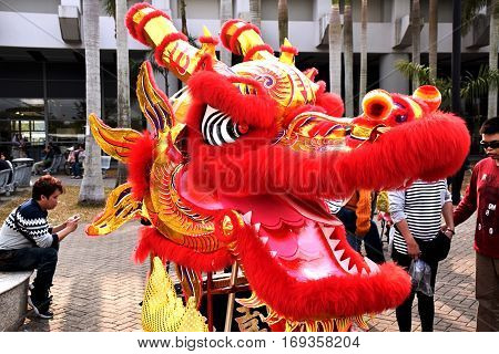 HONG KONG - FEBRUARY 05, 2017 - Head of a dragon ready for the typical dragon dance