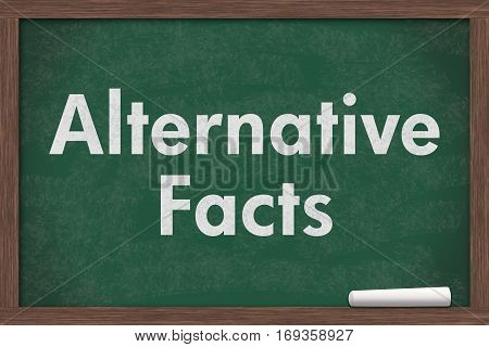 Learning about Alternative Facts Chalkboard with a piece of chalk and text Alternative Facts, 3D Illustration