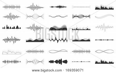 Vector sound waves set. Audio Player. Audio equalizer technology, pulse musical. Vector illustration.