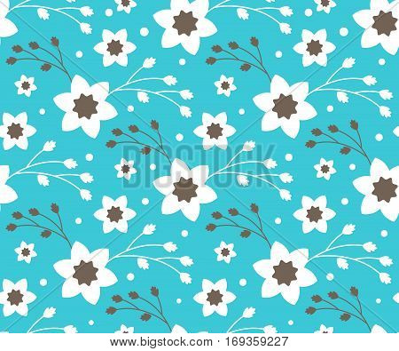 Seamless Bright Fun Abstract Spring Flower Pattern Isolated on Blue Background