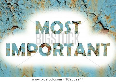 Most Important Words Print On The Grunge Metallic Wall