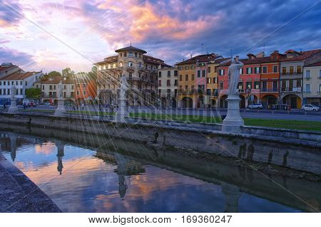 Canal Of Prato Della Valle Square At Sunset, Padua, Italy