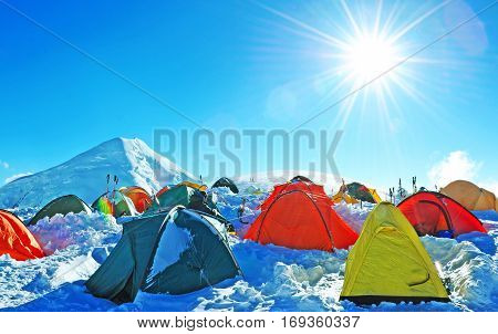 Tents of climbers high in the mountains