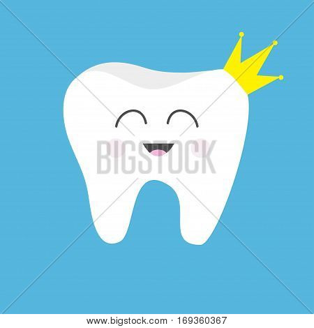 Tooth health icon wearing crown. Cute funny cartoon smiling character. King queen prince princess Oral dental hygiene. Children teeth care. Baby background. Flat design. Vector illustration