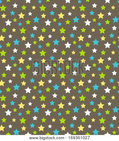 Seamless Bright Abstract Pattern with Stars Isolated on Brown Background