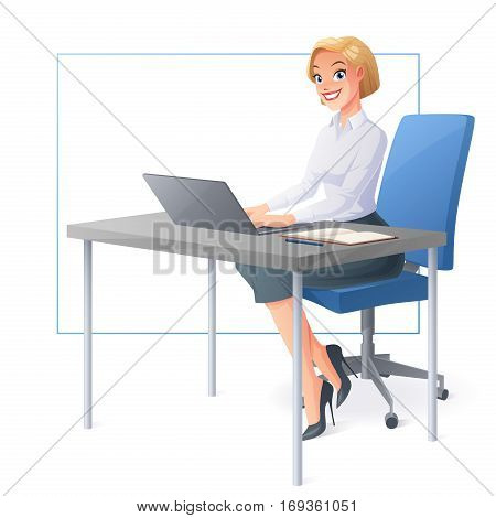 Beautiful smiling business woman or a clerk working with laptop at office desk. Cartoon style vector illustration isolated on white background.