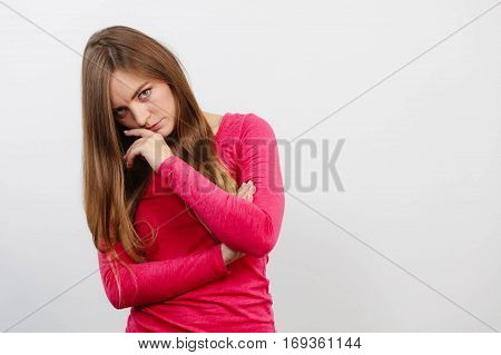 Young Woman Holding Arms Crossed.