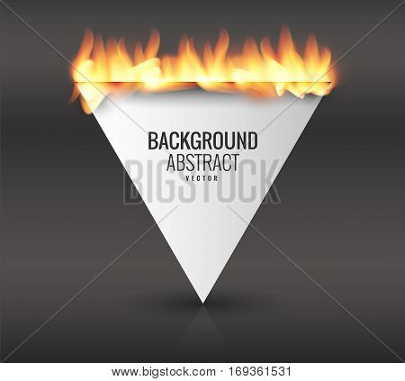Empty space for an inscription with burning paper. Vector graphics with realistic effects of fire, flame, light. Design element. A background for your label. Burning paper effect.