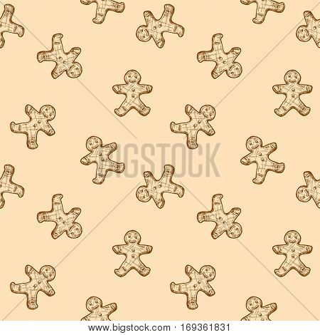 Gingerbread man seamless pattern in ink hand drawn style.