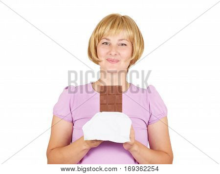 Portrait Of Young Woman Eat Chocolate Though.