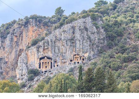 Dalyan king tombs on the rocks of mountains