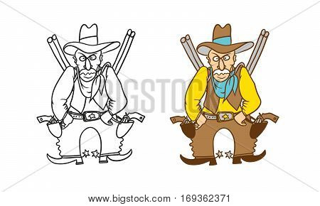 Vector coloring humorous caricature character. Angry Sheriff cowboy with revolvers rifles and a hat
