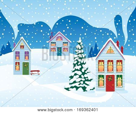 Stock vector illustration of a Christmas holiday in the village