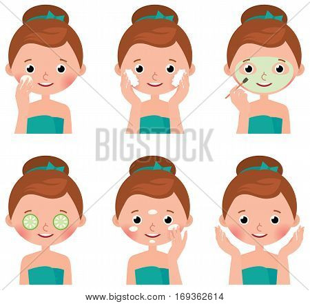 Stock Vector cartoon illustration Young woman doing treatments for skin beauty facial washing mud mask and facial cream