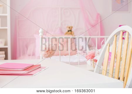 Bright Girl Room With Desk