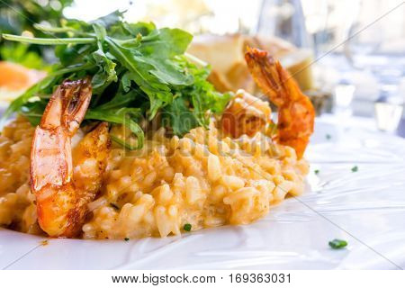 Tasty risotto with Shrimp, fresh herbs vegetables on a white plate
