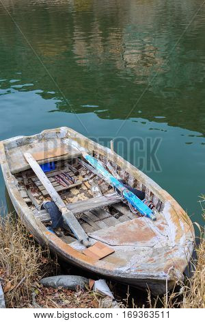Old boat on the river of Dalyan