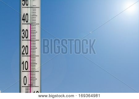 Thermometer Gives Indicates Heat In The Atmosphere.  Heat Of Summer On A Natural Sky Background.