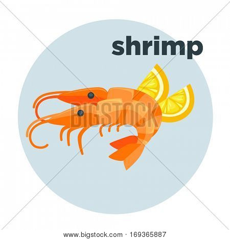 Shrimp with lemon illustration in cartoon style. Red prawn - fresh seafood in restaurant for gourmet. Vector icon of food of sea or ocean isolated on white background.