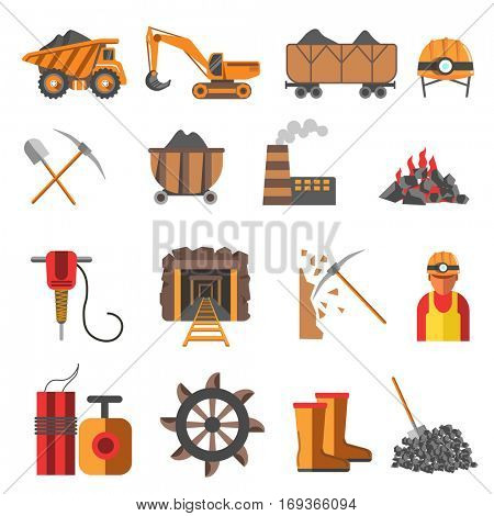 Icons set of mining coal industry: tool and equipment for manufacture, truck and mine, mineral fuel, miner symbol, signs of machinery and dump. Flat vector illustration isolated on white background