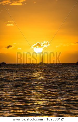 View of the sunset on the ocean at Lahaina Beach, Maui, Hawaii
