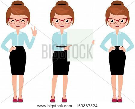 Business woman isolated on white background in full length in various poses to do different gestures Stock Vector cartoon illustration