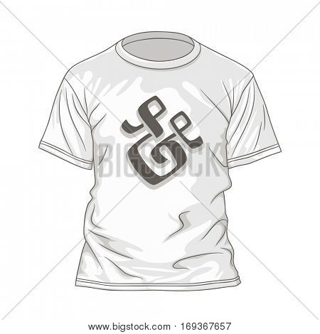 T-shirt design template with hand lettering ampersand. Vector illustration of white tshirt