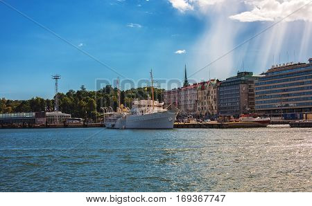 HELSINKI FINLAND - AUGUST 8 2013: Panorama of Helsinki Finland and Cathedral. View from water.