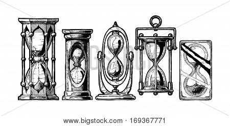 Set of different hourglass in old fashioned etched style. Black and white vector illustration isolated on white.