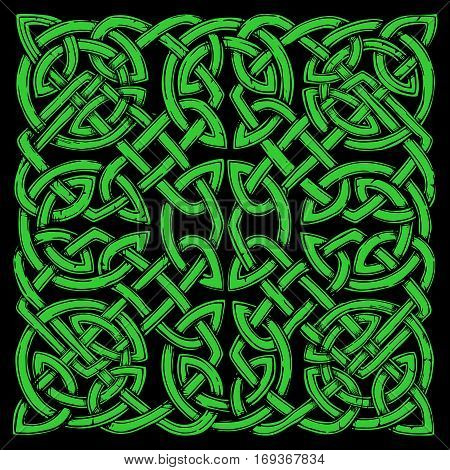 Seamless celtic knots green pattern on black background.