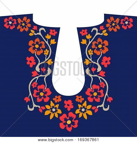Hand drawn floral pattern with red bohemian roses. Folk art textile collection.