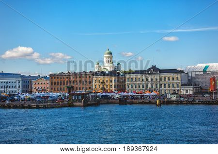 HELSINKI FINLAND - AUGUST 8 2013: Panorama of Helsinki Finland. View from water
