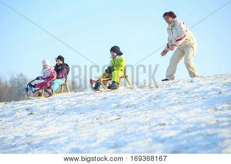 Sledding On Hill