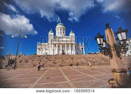 HELSINKI FINLAND - AUGUST 8 2013: Helsinki Cathedral is the Finnish Evangelical Lutheran cathedral of the Diocese of Helsinki distinctive landmark in the Helsinki cityscape