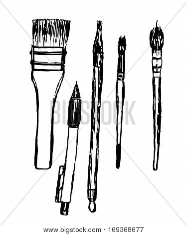 drawing Collection set of drawing tools, brushes and pencils, sketch, hand-drawn vector illustration
