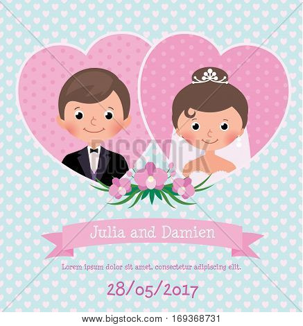 Invitation card on wedding celebration Stock vector illustration