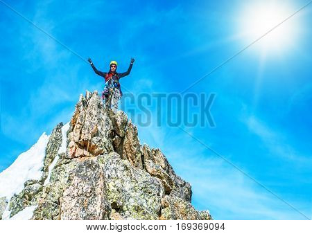 Climber arrive on the summit of a mountain peak