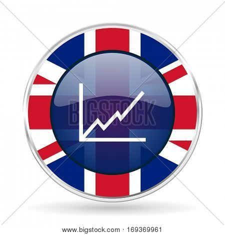 chart british design icon - round silver metallic border button with Great Britain flag