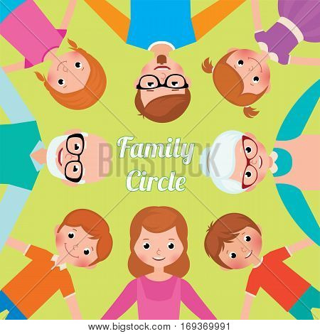 Stock vector illustration Family Circle three generations of adults and children all together