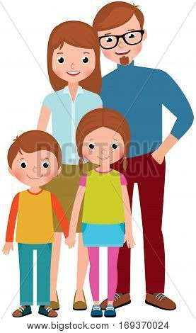 Stock vector illustration of a family portrait of parents and their children son and daughter